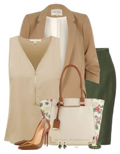 A Touch of Spring for the Office by amber-1991 on Polyvore featuring Ami Sanzuri, River Island, Uniqlo, Christian Louboutin, Call it SPRING, Ann Taylor, Aurélie Bidermann, WorkWear, Spring and skirt