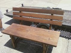 #Garden, #PalletBench, #RecyclingWoodPallets We made this bench using the plans found on this website. We had to add a frame for the seat as we didn't have 2x4's to use for the seat and back slats. Instead, we used 1x4's with the frame underneath.