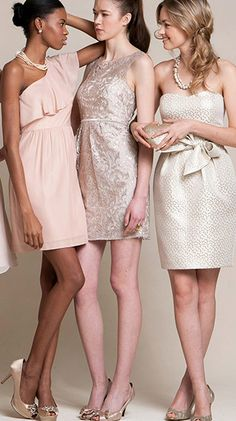 Beautiful bridesmaid style - I like how this is varied but still cohesive ---nice neutral colors Wedding Bridesmaids, Wedding Attire, Wedding Gowns, Bridesmaid Dresses, Gold Wedding, Bridesmaid Inspiration, Wedding Inspiration, Wedding Styles, Wedding Trends