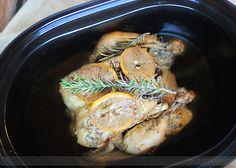 Slow Cooker Buttered Lemon Herb Rotisserie Chicken!