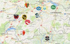 2018 Swiss Super League Map Engelberg, Winterthur, Davos, Chur, Lugano, Lausanne, Team Logo, Bad Ragaz, St Moritz