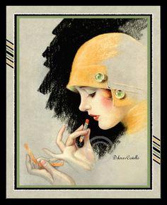 Art Deco Flapper Print Putting on Lipstick by DragonflyMeadowsArt