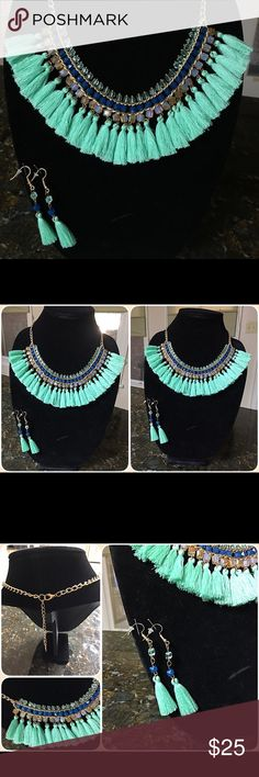 🎀SALE🎀Fashion Necklace and Earrings Festive, Bohemian style tassel necklace and matching earrings. This is a fun, casual necklace that looks great with jeans, shorts, maxi dresses. 7 1/2 inches in length. Brand new with tags. Jewelry Necklaces