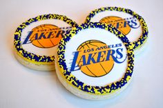 Lakers Logo Decorated Cookies #SweetEsBakeShop #Lakers #LakersCookies