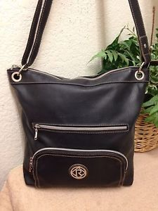 4cf6a65e8b6 Relic Black Pebble Faux Leather Organizer Crossbody Bag Shoulder Handbag  Large   eBay