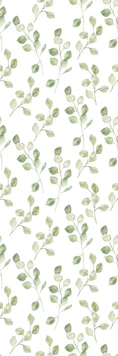 Removable Wallpaper Peel and Stick Wallpaper Self Adhesive Wallpaper Green Leaves on White Background