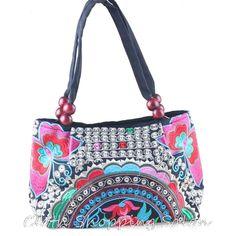 Vintage Hmong Tribal Ethnic Thai Indian Boho shoulder Handbag Women's bag linen embroidery Tapestry