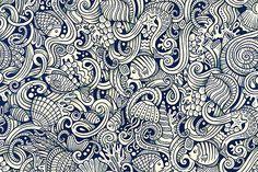 5 Underwater Life Doodles Patterns by balabolka on @creativemarket
