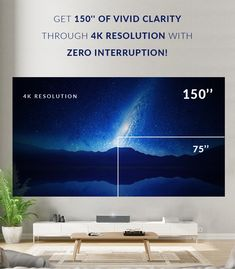 [NOTE: Projector that sits close to the wall, on entertainment unit]. Best Home Theater Projector, Projector Setup, Outdoor Projector, Projector Reviews, Best Projector, Home Theater Rooms, Home Theater Projectors, Short Throw Projector, Korea Wallpaper
