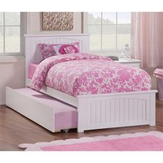Atlantic Furniture Nantucket Urban Twin Trundle Platform Bed in White