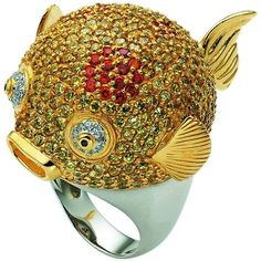 Misis - Ballon Fish Ring (809 AUD) ❤ liked on Polyvore featuring jewelry, rings, fish ring and fish jewelry