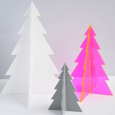 Made to order laser cut acrylic standing holiday Christmas pine tree holiday home decor // set of three by AmplifiedLight on Etsy https://www.etsy.com/ca/listing/213585354/made-to-order-laser-cut-acrylic-standing
