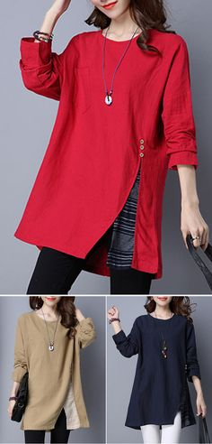 48% OFF! US$16.77 Plus Size O-NEWE Women Stitching Split Long Sleeve O-Neck Tops. SHOP NOW!
