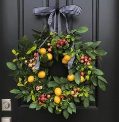 Front Door Wreaths for Spring – Lemons and Crabapple Wreath – Spring Wreath İdeas. Summer Door Wreaths, Wreaths For Front Door, Spring Wreaths, Winter Wreaths, Holiday Wreaths, Wreath Fall, Driven By Decor, Lemon Wreath, Wreath Hanger