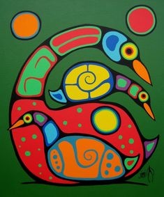 Canadian First Nations Art, Greenery Gallery Vancouver BC. First Nations Ojibway Woodland Art in the style of Norval Morrisseau by Jim Oskineegish. Shaman Ojibwe Artist of the Contemporary Woodland Art Movement Native Art, Native American Art, Woodland Art, Arte Tribal, Haida Art, Bird Quilt, Inuit Art, Canadian Art, Indigenous Art