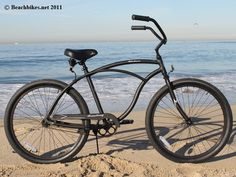 "Matte Black - Men's 26"" Beach Cruiser Bike"