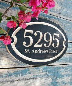 Oval House Number Engraved Plaque Housewarming Gift Open House Gift Family Name Sign Address Sign House Number Outdoor Sign