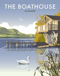 East Urban Home A stunning design of the Ullswater, Lake District by talented artist, Dave Thompson. Thompson's art revisits a classic era of poster design, taking many elements of popular travel art, while remaining current and vibrant. Portsmouth, Lake District, Railway Posters, Posters Uk, Waterfront Property, Lake George, Vintage Travel Posters, Poster Vintage, Rustic Design