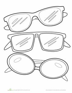Worksheets: Sunglasses Coloring Page