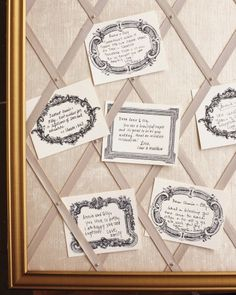 For a pretty alternative to a guest book, friends and family wrote messages on note cards printed with antique images and posted them on a board wrapped in linen.