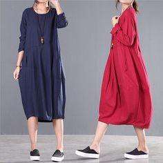 Robe de coton simple originale littéraire plis lâches, femmes coton lin robe Simple lâche robe Summer robe Plus taille vêtements 2015