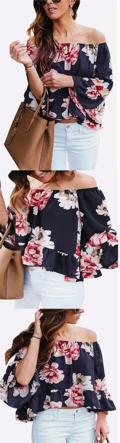 Pay your attention to this top! It features lightweight fabric, off shoulder, random floral pattern and long flared sleeves. Pair it with white jeans and platform shoes for your date.