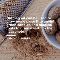 Nutmeg oil can be used to draw money; use it to anoint green candles and magical tools to draw wealth to the household. -- Nutmeg Magical Properties and Uses Hoodoo Spells, Witchcraft, Wiccan Spells, Magic Spells, Pagan, Magic Herbs, Herbal Magic, Nutmeg Oil, Sweet Magic