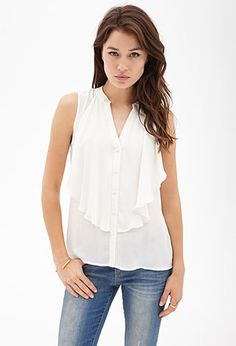 Flounced Button-Front Top | FOREVER21 - 2000104382