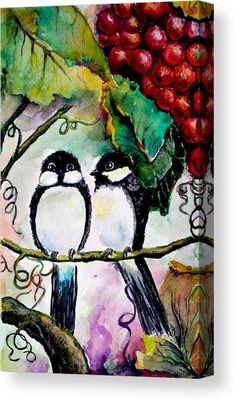 Watercolor Canvas Print featuring the painting Bird Love 2 by Medea Ioseliani