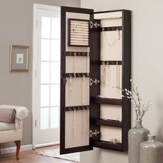 Belham Living Lighted Wall Mount Locking Jewelry Armoire - Espresso - 14.5W x 50H in. - Womens Jewelry Boxes at Hayneedle