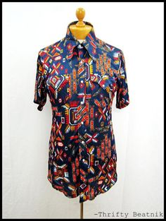 Vintage 1970s 70s AWESOME DISCO Mod Geometric Cool Pattern Shirt Medium Tall | eBay