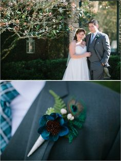 peacock inspired boutonniere. See more of this blue wedding here http://www.weddingchicks.com/2013/09/24/light-pink-and-gray-wedding/