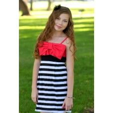 Brums Black/White Stripe with Big Pink Bow Tween Dress Dresses For Tweens, Eid Dresses, Cute Dresses, Black White Stripes, Black And White, Got The Look, Weekend Sale, Dress With Bow, Teen Fashion