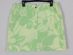 Lands End Skort 14 L size Green Yellow Hawaiian Cotton Pockets Skirt Shorts #LandsEnd #Skorts