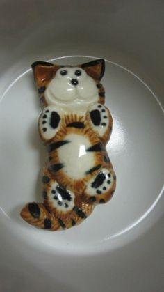 SHORT SUBJECTS STRIPED CAT MUG CUP COFFEE TEA *SURPRISE INSIDE BOTTOM OF MUG*