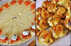 Ingrediente (pt. 16 mini-croissante ): 100 gr somon fumee 100 gr branza cu ierburi aromatice (ricotta cu menta . busuioc) 1 galbenus 1 pachet aluat foietaj Mod de preparare: Intine aluatul pe masa si decupeaza-l in 16 bucati, ca-n...