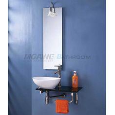 The Art Gallery wash basin mirror ceramic basin black glass top stainless steel rack bathroom