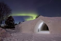 Northern lights in Arctic SnowHotel in Rovaniemi in Lapland