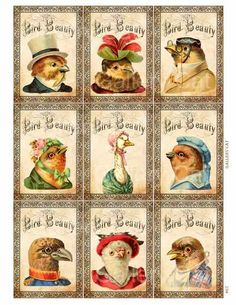Victorian Bird Beauty Digital Collage Sheet Instant Download Paper Crafts Card…