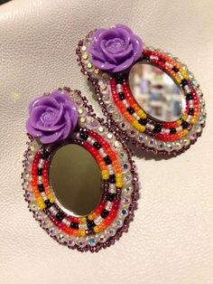 Native American Beaded Earrings: Rose Set (lavender) on Etsy, $25.00