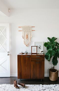 little credenza - great clutter free entryway solution Entryway // DIY wall hanging // smitten studio