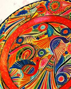 Mexican Folk Art Plate. Detail by hawhawjames, via Flickr