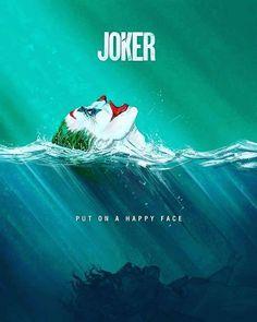 """Joaquin Phoenix's Joker poster art """"Put on a happy face"""" Art Du Joker, Der Joker, Photos Joker, Joker Images, Le Joker Batman, Joker And Harley Quinn, Gotham, Dc Comics, Batman Comics"""