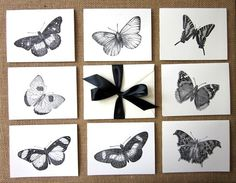 Butterfly Note Cards Set of 10 with Matching by PetitePaperie, $10.00