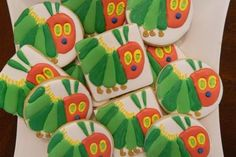 Hungry Caterpillar Cookies~        By angie's cookie magic, green, square, round