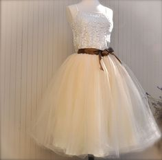 Classic Beige Tulle Skirt with Chocolate by TutusChicBoutique, $165.00