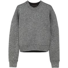 Alexander Wang Metallic knitted sweatshirt (£225) ❤ liked on Polyvore featuring tops, hoodies, sweatshirts, sweaters, alexander wang, sweatshirt, jumper, dark gray, sweat tops and alexander wang top