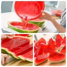 Watermelon Jell-O Shots Wodka Watermelon Jello Shots, Jello With Fruit, Watermelon Jelly, Watermelon Ideas, Watermelon Birthday Parties, Fruit Party, Luau Party Snacks, Kid Snacks, Fruit Snacks