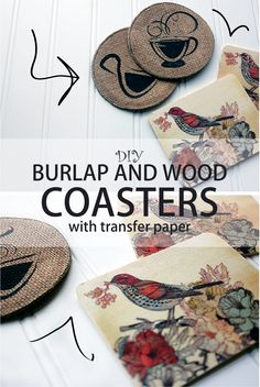 Create your own one-of-a-kind burlap and wood coasters with NuFun Activities Light Fabric Transfer paper! #DIY #Coasters #Transfer