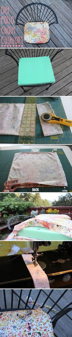 Outdoor furniture can be sturdy, but sometimes need help in the comfort department. DIY a patio chair cushion  to fit your style, decor and add comfort: http://www.ehow.com/how_2188793_make-cushions-patio-chairs.html?utm_source=pinterest.com&utm_medium=referral&utm_content=inline&utm_campaign=fanpage